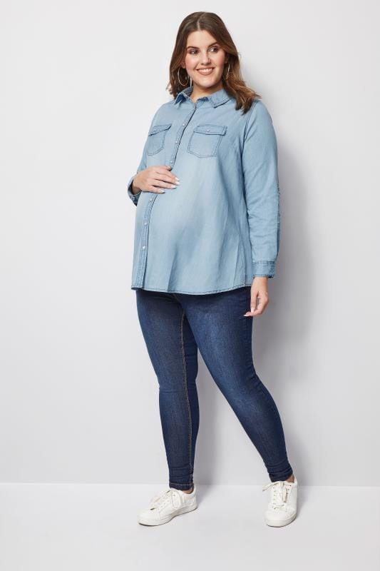 Plus Size Maternity Tops BUMP IT UP MATERNITY Blue Denim Shirt