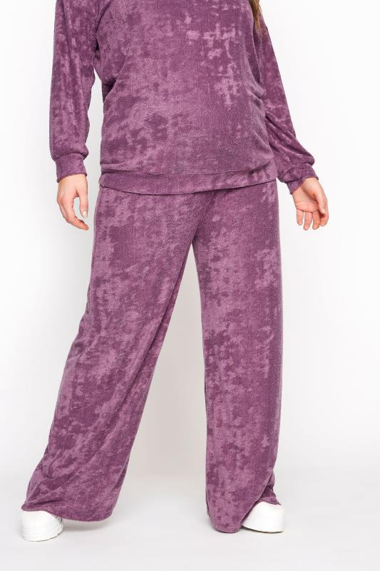 BUMP IT UP MATERNITY Purple Flannel Towelling Co-ord Wide Leg Trousers