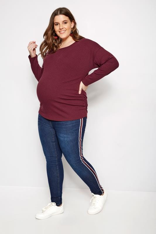 Plus Size Maternity Tops & T-Shirts BUMP IT UP MATERNITY Burgundy Ribbed Top