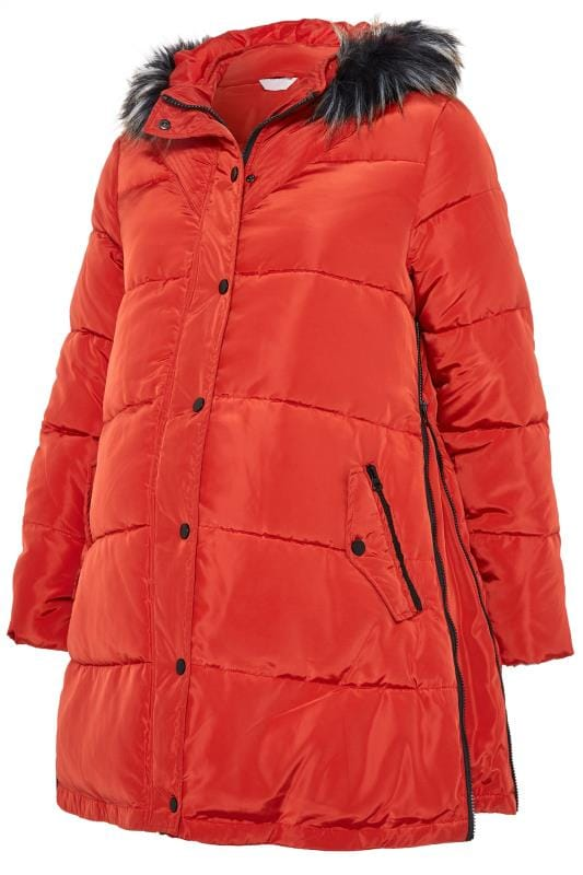 BUMP IT UP MATERNITY Burnt Orange Zip Up Puffer Coat