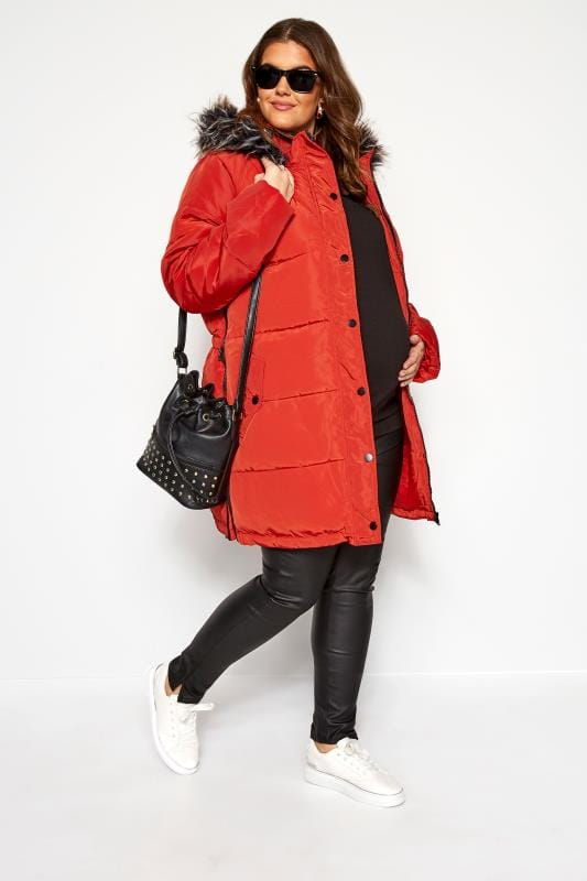 Puffer & Quilted Jackets Tallas Grandes BUMP IT UP MATERNITY Burnt Orange Zip Up Puffer Coat