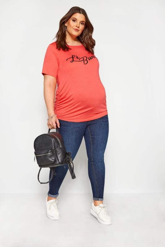 Plus Size Maternity Tops & T-Shirts BUMP IT UP MATERNITY Coral Pink 'Lé Bump' Slogan T-Shirt
