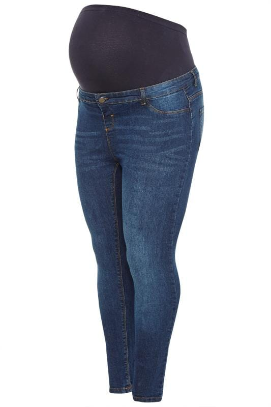 BUMP IT UP MATERNITY Donkerblauwe skinny jeans met wassing