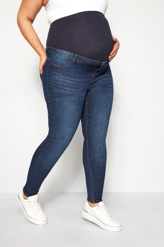 Plus Size Maternity Jeans & Jeggings BUMP IT UP MATERNITY Dark Blue Mid Wash Skinny Jeans With Comfort Panel