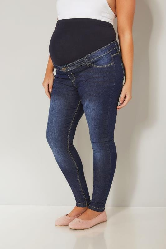 BUMP IT UP MATERNITY Dark Blue Mid Wash Skinny Jeans With Comfort Panel