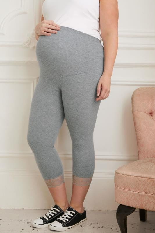 BUMP IT UP MATERNITY Grey Cropped Leggings With Lace Trim