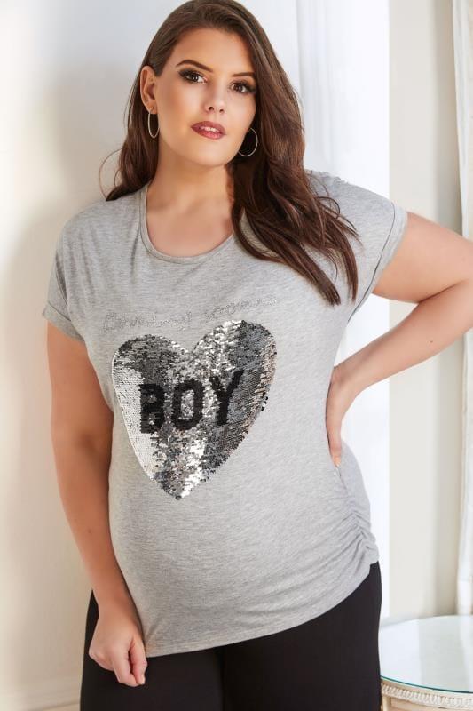 BUMP IT UP MATERNITY Grau meliertes T-Shirt mit Girl/Boy Pailletten-Muster