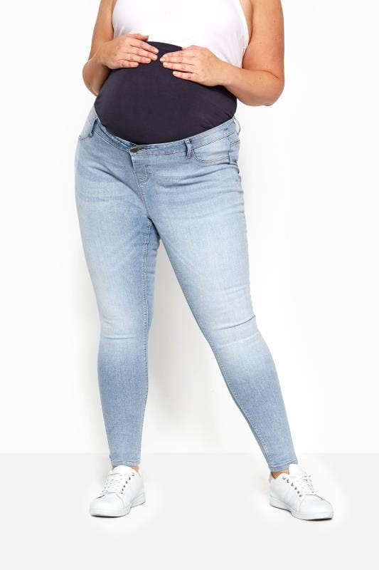 BUMP IT UP MATERNITY Light Blue Skinny Jeans With Comfort Panel