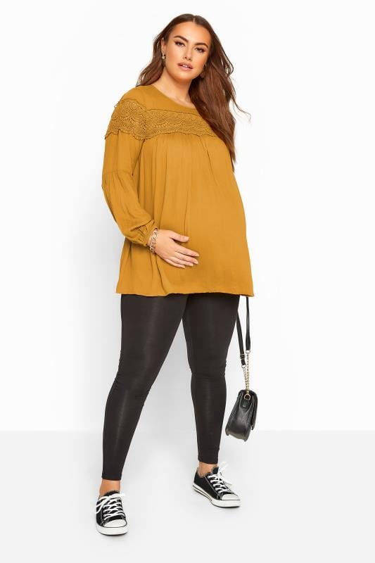 Plus Size Maternity Tops & T-Shirts BUMP IT UP MATERNITY Mustard Yellow Lace Insert Top