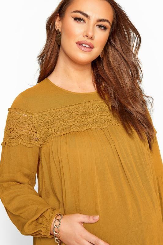 Plus Size Maternity Tops & T-Shirts BUMP IT UP MATERNITY Mustard Yellow Lace Insert Top