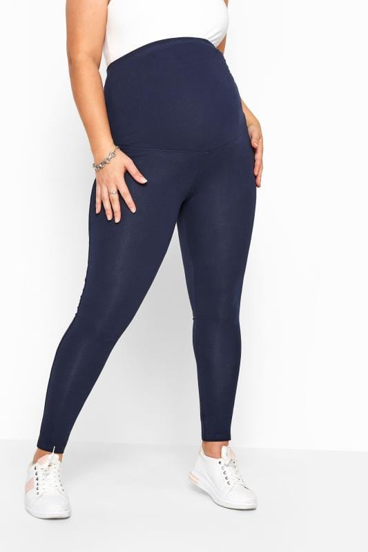 Plus Size Maternity Leggings BUMP IT UP MATERNITY Navy Cotton Essential Leggings With Comfort Panel