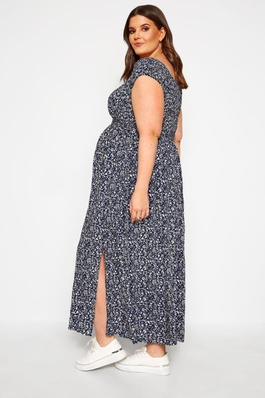 BUMP IT UP MATERNITY Navy Ditsy Floral Shirred Maxi Dress