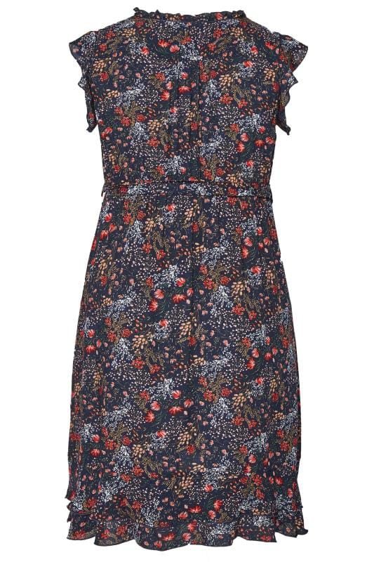 BUMP IT UP MATERNITY Navy Floral Frilled Dress