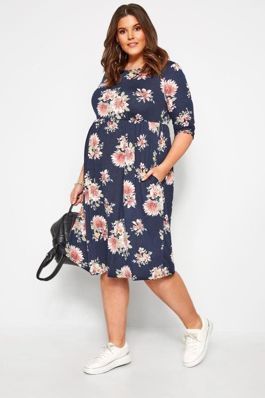 Plus Size Maternity Dresses BUMP IT UP MATERNITY Navy Floral Print Skater Dress