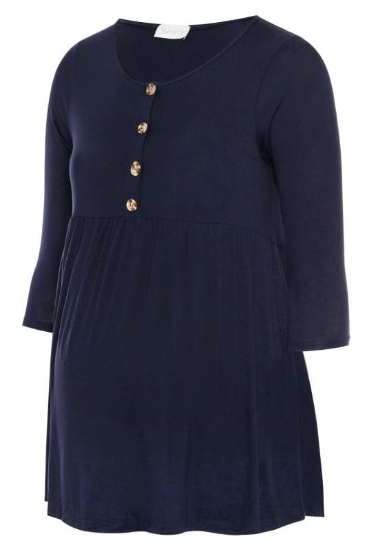 BUMP IT UP MATERNITY Navy Horn Button Smock Top