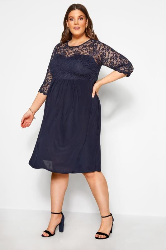 BUMP IT UP MATERNITY Navy Lace Midi Dress