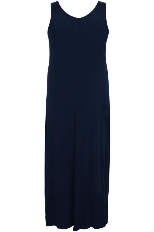 BUMP IT UP MATERNITY Donkerblauwe maxi-jurk met elastische inzet aan de zijkanten