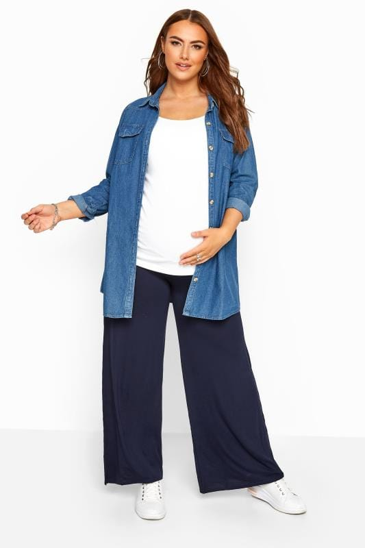 Plus Size Maternity Trousers BUMP IT UP MATERNITY Navy Palazzo Trousers With Comfort Panel