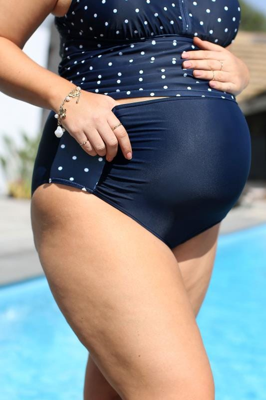 Plus Size Maternity Swimwear BUMP IT UP MATERNITY Navy Polka Dot High Waisted Bikini Briefs