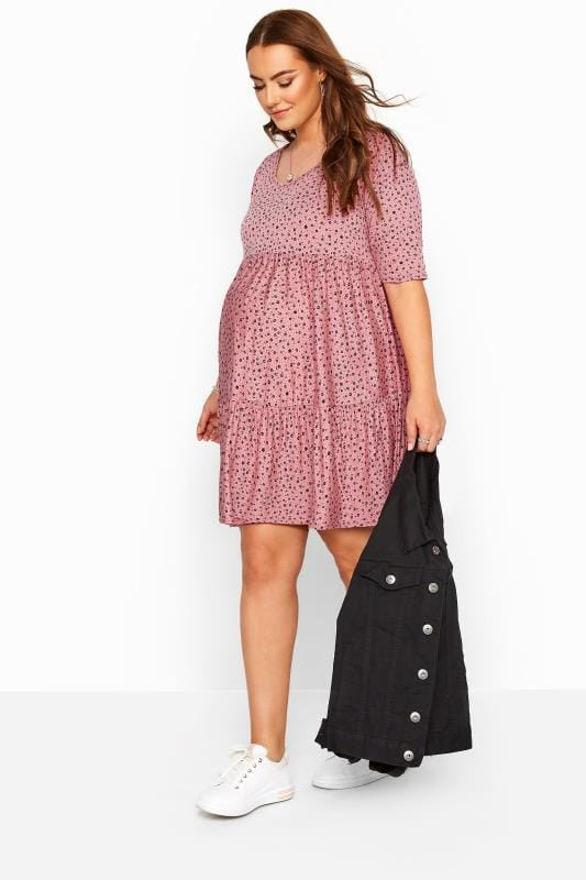 BUMP IT UP MATERNITY Pink Ditsy Floral Tiered Smock Tunic