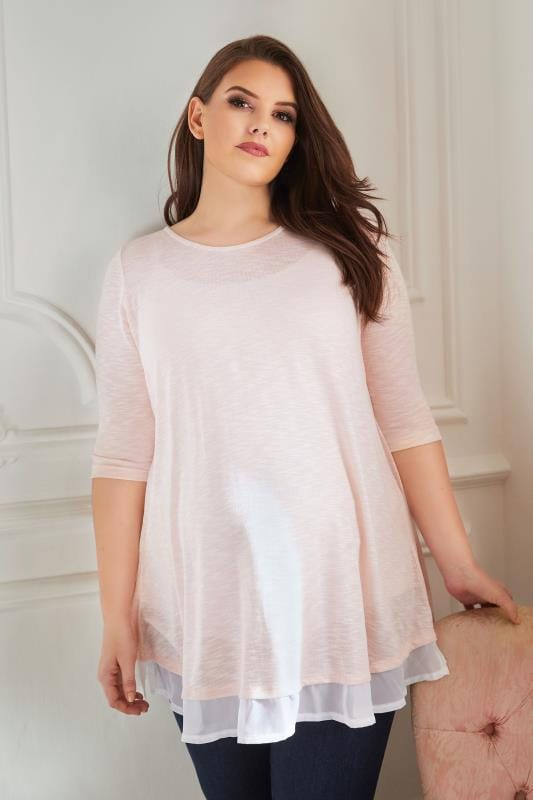 Plus Size Maternity Tops BUMP IT UP MATERNITY Pink Fine Knit Top With Chiffon Layer & Split Back
