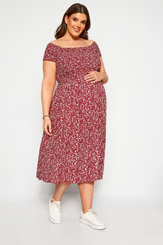 Plus Size Maternity Dresses BUMP IT UP MATERNITY Red Ditsy Floral Midi Dress