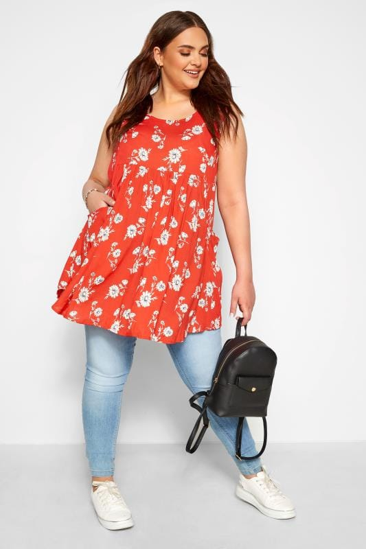 BUMP IT UP MATERNITY Red Floral Drape Pocket Top