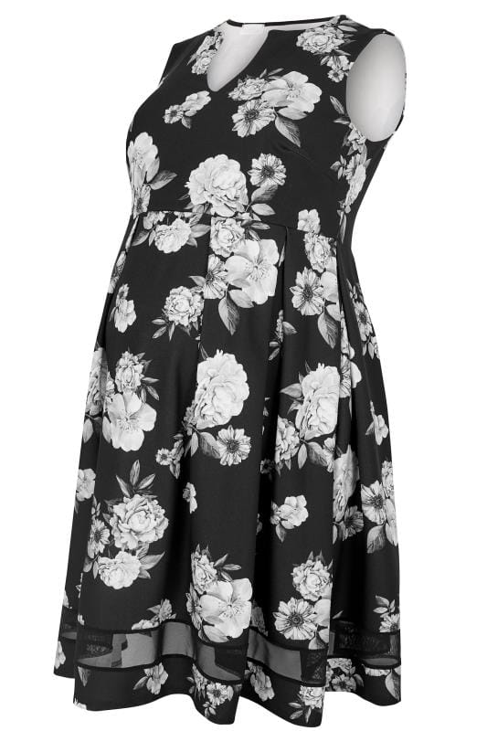 BUMP IT UP MATERNITY - Robe Patineuse Noire à Fleurs