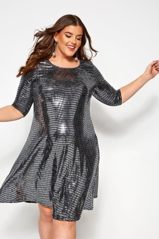 Plus Size Party Dresses BUMP IT UP MATERNITY Silver Sparkle Embellished Swing Dress