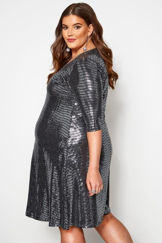 BUMP IT UP MATERNITY Silver Sparkle Embellished Swing Dress