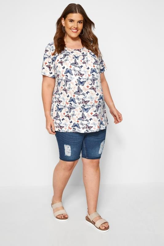 BUMP IT UP MATERNITY White Butterfly Gathered Top