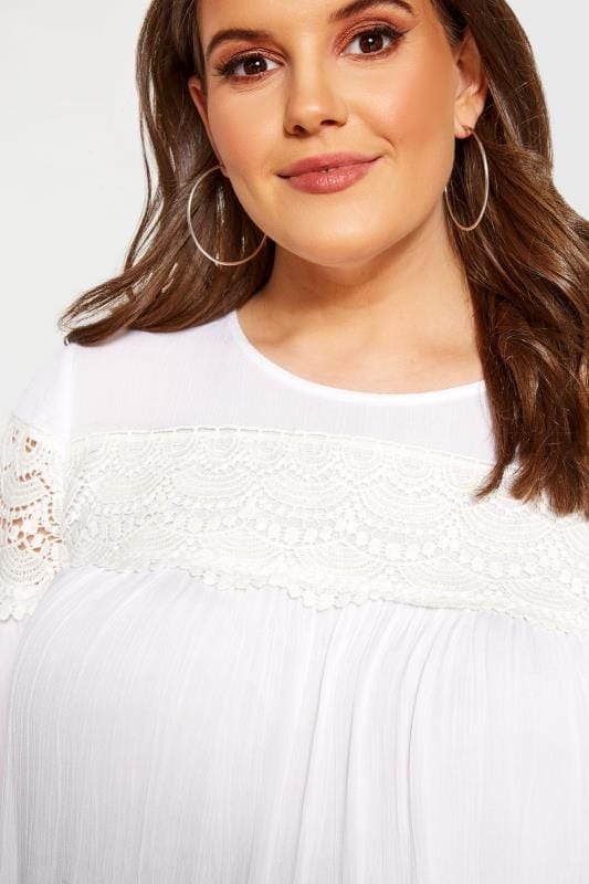 BUMP IT UP MATERNITY White Crochet Lace Insert Top