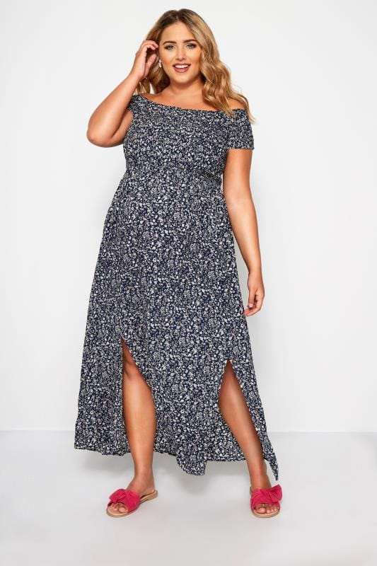 BUMP IT UP MATERNITY Navy Ditsy Floral Maxi Dress