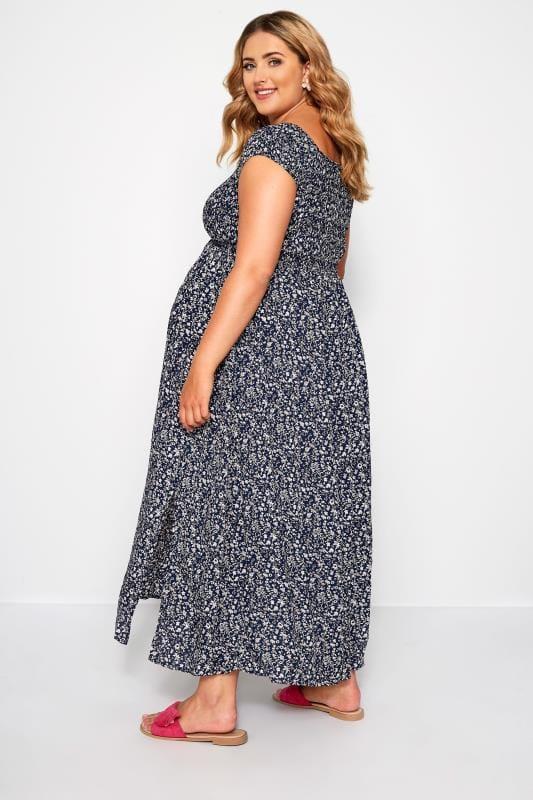 Plus Size Maternity Dresses BUMP IT UP MATERNITY Navy Ditsy Floral Maxi Dress