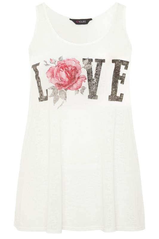 White Burnout 'Love' Slogan Vest Top