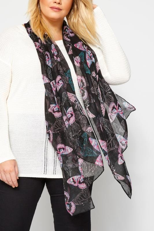 Plus Size Scarves Black & Pink Butterfly Scarf