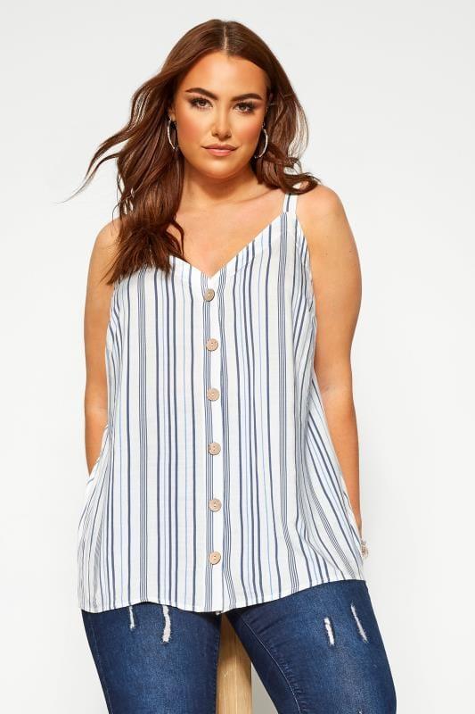 Plus Size Vests & Camis Blue Stripe Button Front Cami