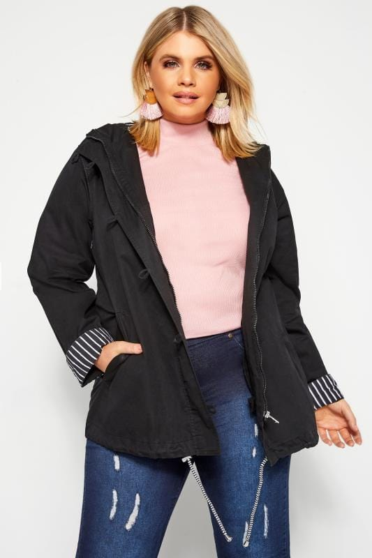 Plus Size Parka Coats Black Twill Parka Jacket