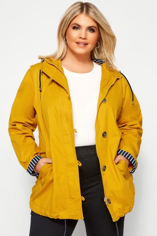 Plus-Größen Jackets Mustard Yellow Twill Parka Jacket