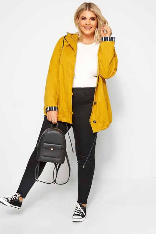 Plus Size Jackets Mustard Yellow Twill Parka Jacket