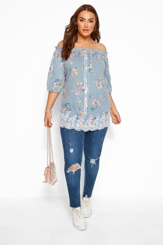Blue Floral Stripe Embroidered Bardot Top