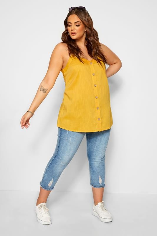 Plus Size Vests & Camis Yellow Button Cami Top
