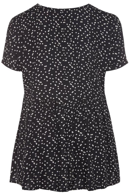 Black Polka Dot Button Front Tunic