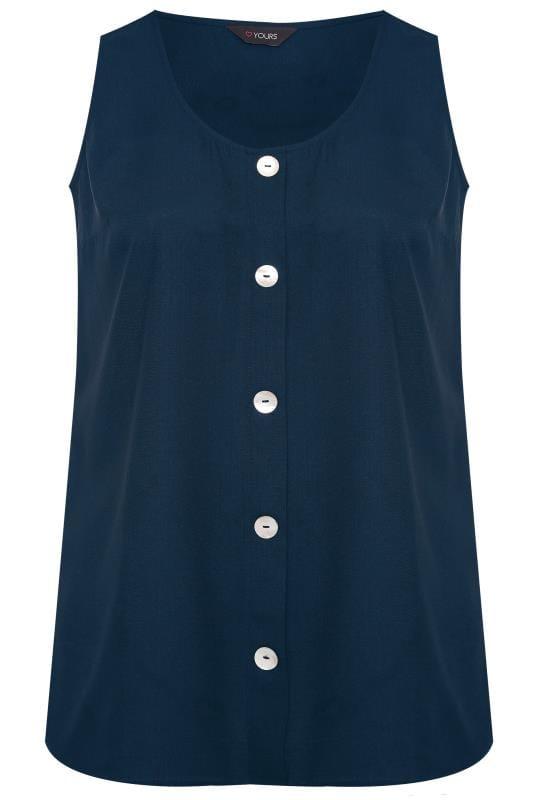 Navy Button Front Vest Top