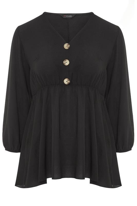 Plus Size Day Tops Black Button Peplum Top