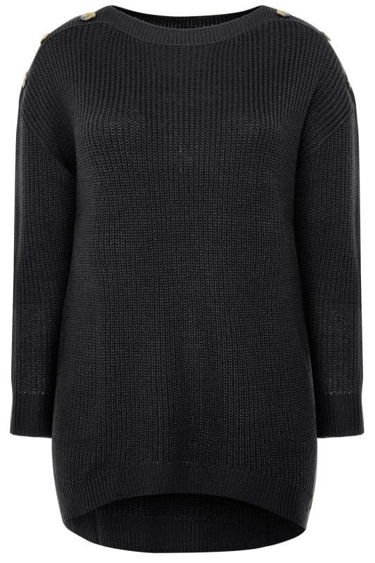 Black Horn Button Knitted Jumper