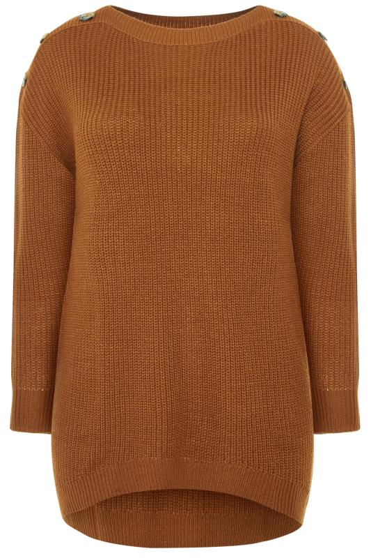 Plus Size Jumpers Brown Horn Button Knitted Jumper