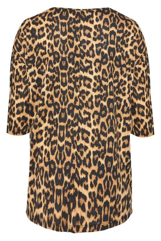 Brown Animal Print Button Knitted Top