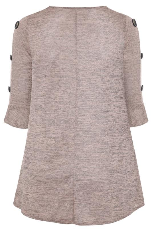 Pink & Brown Marl Button Sleeve Top