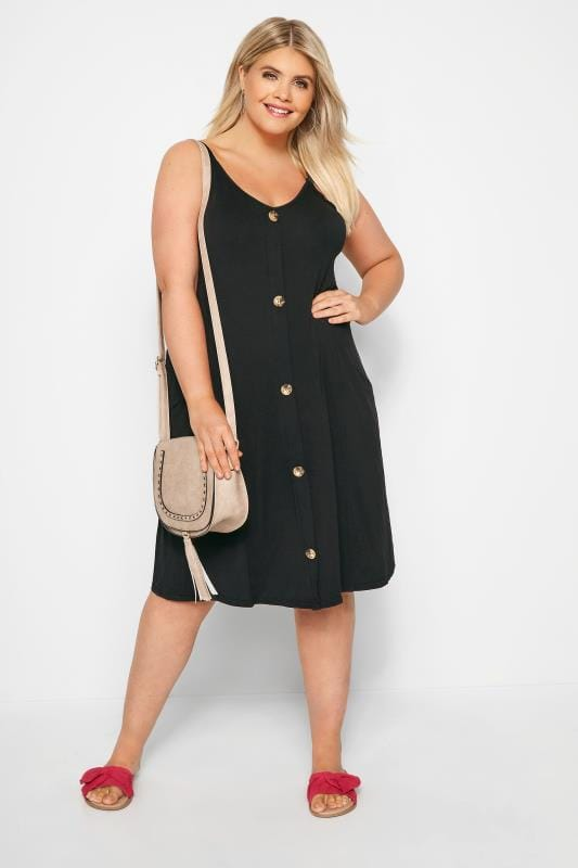 Black Horn Button Drape Pocket Dress